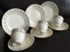 Three Art Deco New Chelsea Staffordshire UK Bone China Teacup & Saucer Trio Sets