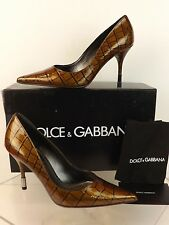 NIB DOLCE & GABBANA BRONZE CROCO PRINTED PATENT LEATHER  POINTED TOE PUMPS 36