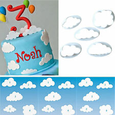 5x Cloud Shape Fondant Cutter Mold Food-grade Plastic Mould Cake Decorating Tool