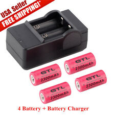 4 x 2300mAh 16340 Rechargeable Li-ion Battery For Flashlight+Battery Charger EM