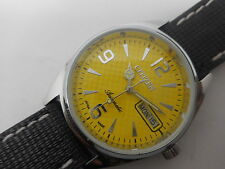 citizen automatic men's steel yellow dial vintage japan made watch run -vl2