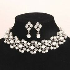 Pearl and Clear Rhinestone Choker Set with Matching Earrings