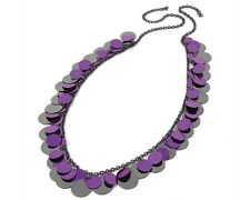 Purple & HEMATITES lentejuelas collar de cadena