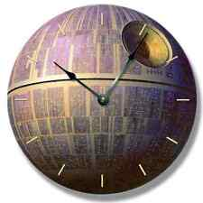 DEATH STAR pattern wall CLOCK - Star Wars galactic space craft - 7145_FT