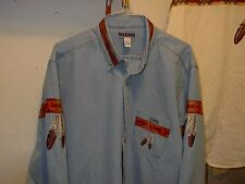 EAGLE AND EAGLE FEATHER DENIM SHIRT