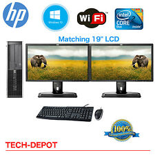 "HP Desktop PC Computer Core 2 Duo 4GB 160GB DUAL 19"" LCD Monitor Windows 10"