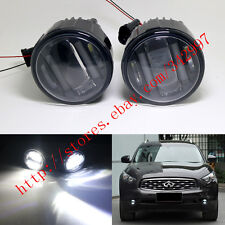 2x White LED Projector Fog Lamps w/ DRL Lights For 2011-up Infiniti M37/M56/Q70