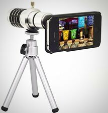 iPhone Camera Zoom Telescope Lens Kit iphone 5 5S 12 x Zoom Tripod Case Silver