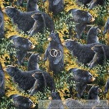 BonEful Fabric FQ Cotton Quilt Black Bear Grizzly Tree Log Cabin Lodge Nature US