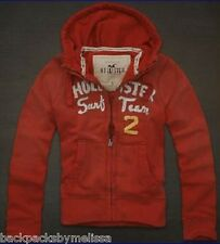 HOLLISTER Authentic RED Zip-UP Hoodie Jacket Large NeW L SURF Team Sweatshirt