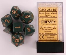Chessex 7 Dice Set Opaque Dusty Green with Gold CHX 25415 for D&D & D20