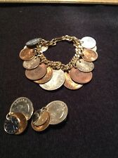 SOUTH AFRICA COIN BRACELET ELIZABETH REGINA AND OTHER 1950'S  COINS & Earrings