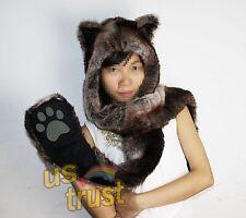 Trendy Brown Wolf Hood Hoodie Fur Hat Scarf Mittens / Gloves / Pocket 3 in 1