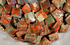 "AFRICAN BRECCIATED POPPY JASPER 25MM CORNER SQUARE  BEADS 16"" STR RED GRAY GREEN"