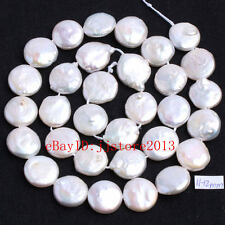 11-12mm Natural White Freshwater Pearl Coin Shape Gems Loose Beads Strand 15""