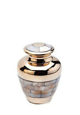 Brass Cremation Ashes Keepsake (Gold and Mother of Pearl) HU184K Mini Urn