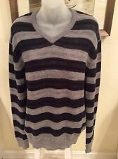 Vince Mens Navy Blue/Gray Striped CAMEL HAIR & WOOL SWEATER Size XL