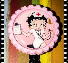 Retractable Betty Boop Nurse RN Name Badge Pull Reel ID W Alligator Clip