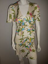 RARE Mara Hoffman Silk Tropical print Mini Dress flutter sleeves sz P xsmall