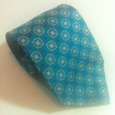 NEW LANDS END Real Jacquard Silk Necktie Green Blue Circles Pattern