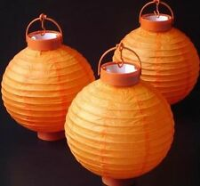 1 x Orange Hanging Paper Lantern Battery LED Chinese Party Lights 150 hours