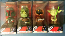 2008 Star Wars Bobble Heads Boba Fett, Gamorrean Guard, Jawa, Yoda (NEW MIB)