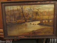 1800's Era Framed Forest Scene Oil painting on canvas unsigned