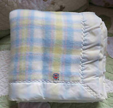 Pastel Plaid Acrylic Intl Ladies Garment Workers Union ILGWU Baby Blanket EUC