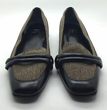 S5A SAKS FIFTH AVENUE Tan Linen Black Leather Ballet Flats Loafers WORN 1x Sz 6M