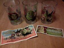 LOT OF 3 SHREK THE THIRD-2007 DRINKING GLASSES-FIONA/SHREK/DONKEY