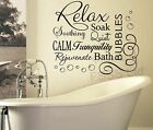 RELAX SOAK BUBBLES BATH DB QUOTE WALL ART STICKER DECAL VINYL DIY HOME BATHROOM