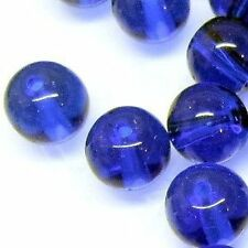50 x 8mm Crystal Glass Round Beads - Cobalt Blue - A3664