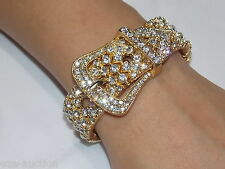 Glamorous Gold Rhinestone Crystal Belt Buckle Bracelet Adjustable
