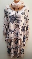 New Italian Lagenlook Pink Star Print Tunic dress top & scarf uk 16 18 20 22 24