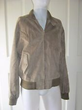 Vintage Hardy Amies London Leather Cafe Clicker Leather Knit Trim Jacket Mens L