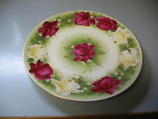 Gorgeous Early Limoges Jean Pouyat, JP, Dark Pink Red & Yellow Roses Plate
