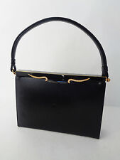 Bags by Dorian Small Black Leather Handbag Gold Rhinestone Top Closure 1950s VTG