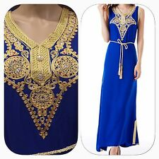 Handmade Royal Blue Moroccan Caftan Maxi Dress Abaya Blouse Kaftan Sz 1x