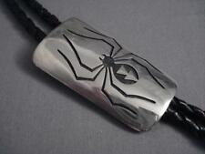 MUSEUM VINTAGE HOPI LONG SPIDER SILVER BOLO TIE