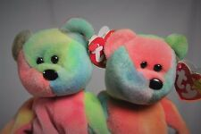 Authentic Ty Beanie Babies Retired Rainbow GARCIA x 2 BROTHERS CORAL PEACH PVC
