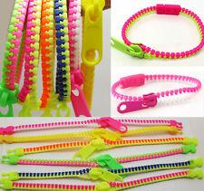 Lot de 24 Bracelet Fermeture Eclair Zipper Zippé Fluo Revendeur Grossiste Neuf