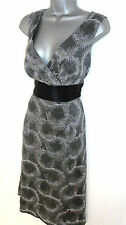 Monsoon Grey Silver Metallic Leaf Embroidered Occasion Evening Dress 14.