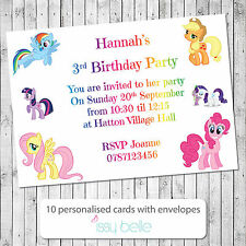 Personalised Childrens Birthday Party Invitations Thank You My Little Pony