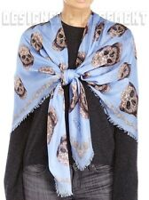 """ALEXANDER MCQUEEN sky blue Paisley LACE SKULL modal & silk 52"""" scarf NEW Authent"""