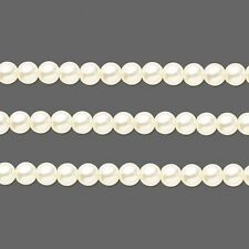 Round Glass Pearls Beads. Ivory 6mm 16 Inch Strand