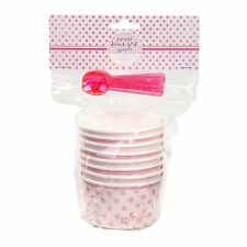 Pink N Mix Ice Cream Bowls & Spoons , Paper Party Treat Tubs, Pack of 8