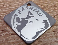 Hundemarke Edelstahl 30 x 30 mm, GRAVUR  mit Hunderasse Logo, Name, Tel. 9 Gramm