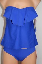 NWT Hula Honey Swimsuit Bikini Tankini 2pc set Sz L M Blue