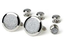 New Silver Diamond Dust Silver Plated Cufflinks studs Retail Gift Boxed TUXXMAN
