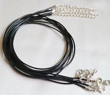 "1mm Black Waxed Leather Rope Choker Necklace Cord Chain for Pendant 18"" UK LT"